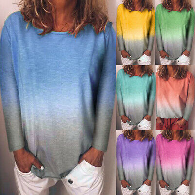 Womens Loose Ladies Shirt Tee Casual Ombre Basic Jumper Blouse Long Sleeve Tops