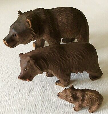 Antique Black Forest Hand Carved Wood Bear FAMILY GLASS EYES Papa Mama Baby ASIS