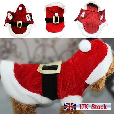 Christmas Puppy Clothes Dog Couple Santa Claus Costume Pet Fancy Dress Outfit UK