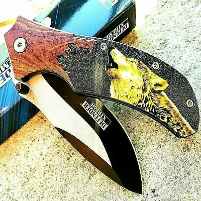 "8.5"" TACTICAL Spring Assisted Open Pocket Knife FOLDING Blade Wolf Wood Handle"
