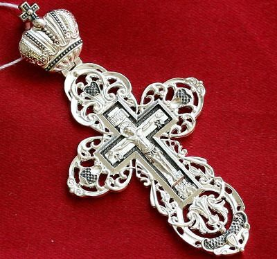 """Big Authentic Russian Orthodox Cross.Imperial Crown. Silver925. New Prayer. 2.5"""""""