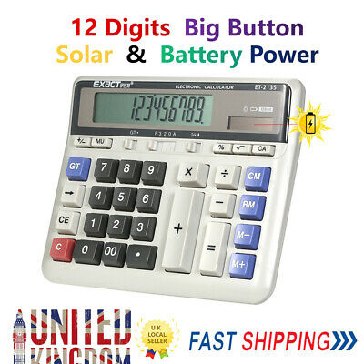 NEW 12 Digits Electronic Calculator Battery Solar Powered Big Buttons UK Z4X0