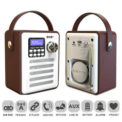 Portable DAB Digital Rechargeable Retro Stereo Bluetooth Wood FM Radio Audio UK