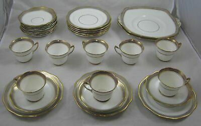 ROSLYN CHINA, 11 Side Plates, 8 Tea Cups 12 x Saucers, 2 x Cake Plate lilac/Gold