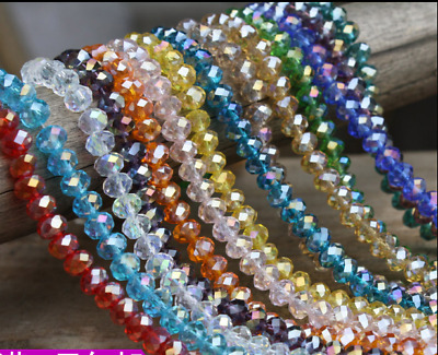 Wholesale 35pcs 8mm Crystal Faceted  Abacus Loose Bead Bracelet Necklace Craft