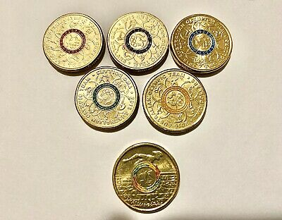 2016 Australian Olympic $2 Two Dollar Coins Full Set x6 Colours Uncirculated