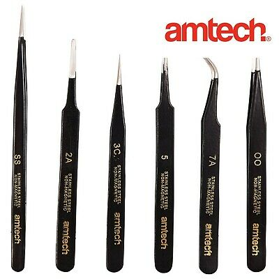 6Pc COATED STAINLESS STEEL TWEEZERS SET Precision Airfix Craft Model Stamp Hobby