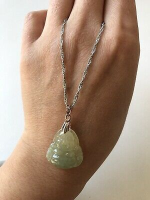 Gemstone natural green jadeite jade Buddha pendant certificated grade A sliver