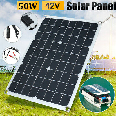 50W 12V Solar Panel USB Battery Charger Car RV Boat Home 10/20/30/40A