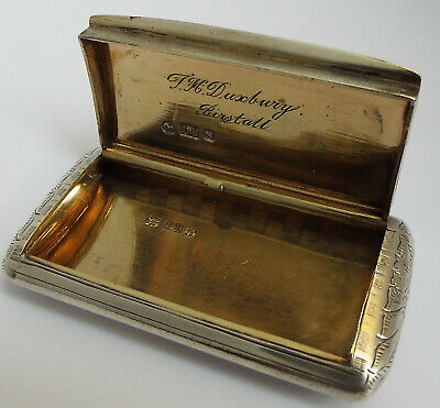 Suprb Large Decorative English Antique Victorian 1848 Sterling Silver Snuff Box
