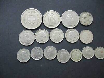 Swiss Coins Some Silver And Rare Dates X16