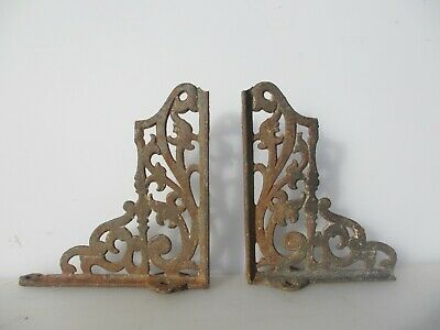 "Vintage Iron Cistern Shelf Brackets Holders Shelve Old Gothic  9""D"