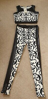 Cream And Black Floral Cropped Top And Legging Outfit Size S/M BNWT