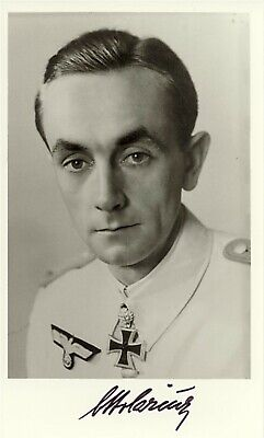 Otto Carius signed photo. Panzer Oakleaves winner.150+ tanks destroyed !!