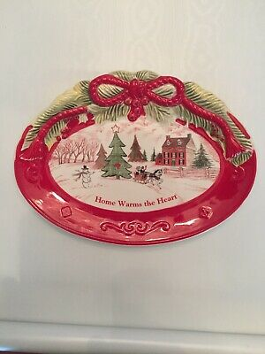 Fitz and Floyd Sentiment Tray  Home Warms The Heart BEAUTIFUL