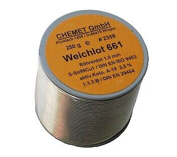 Soldering Wire with Flux Lead Free Alloy Sn99Cu1 1.00mm CHEMET 250g Reel RoHS