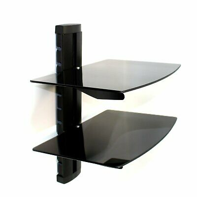 Tempered Black Glass Floating Shelf Wall Mount Consoles/DVD players M&W (2 Tier)