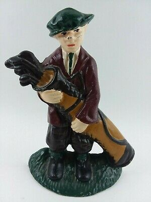 Vintage Cast Iron Golfer with Hat Holding Golf Clubs (Door Stop, Book End)