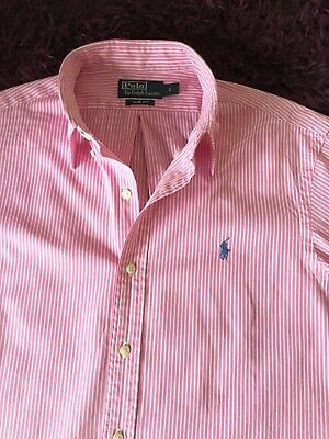 Super Cool 100% Genuine Mens Ralph Lauren Slim Fit Stripe Shirt In Large