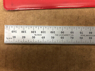 Starrett C635-150 150mm Spring-Tempered Steel Rule with Millimeter Graduations,