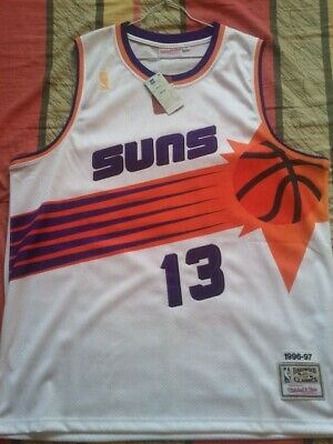 jersey nba authentique steve nash logo nba or phoenix suns mitchell ness neuf