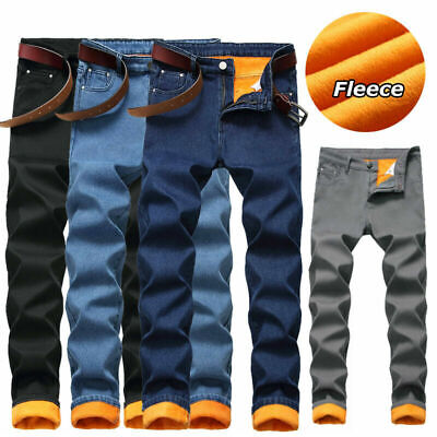 HERREN WINTER FLEECE Jeans Denim Hosen Warme Trousers Dicke