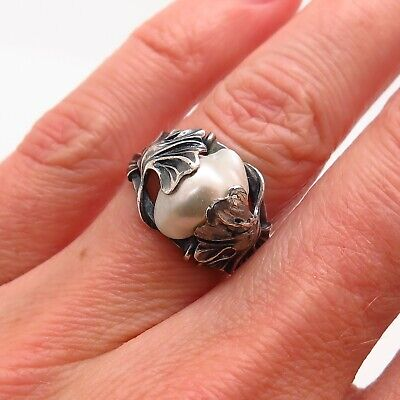 Antique Victorian Sterling Silver Real Pearl Ginkgo Leaf Design Collectible Ring