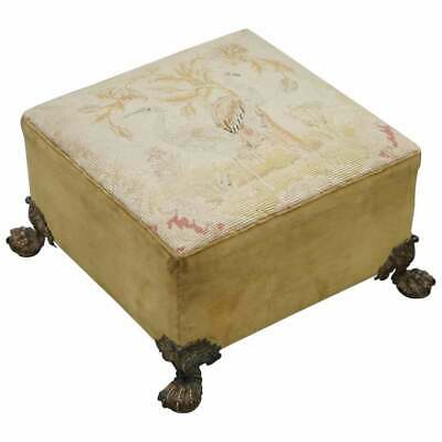 Regency Embroidered Footstool Bronze Feet, Ian Thomas Estate Dress Maker Diana