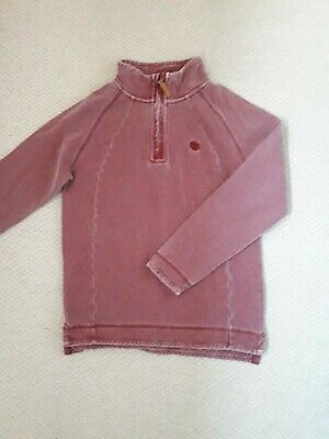 FAT FACE Girls Kids Red Overhead Zip Sweater Jumper Age 10-11 Years