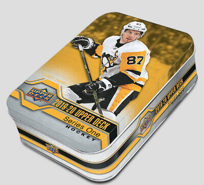 2019-20 Upper Deck Series 1 NHL Hockey Trading Cards 80c. Collector TIN =Rookies