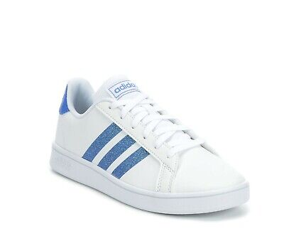 Adidas Grand Court Kid's Youth  Glitter Leather Casual Shoes