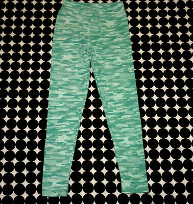 Girl's LuLaRoe Mint and Aqua Green Camo Leggings Size Tween (8-14) EUC