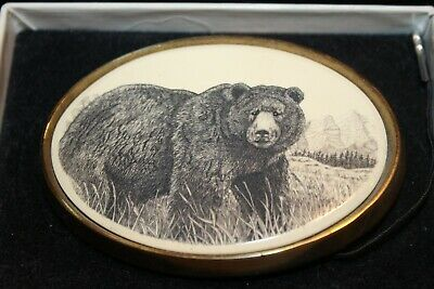 Belt Buckle Barlow Scrimshaw Carved Painted Art Traditional Bears Fishing 590619