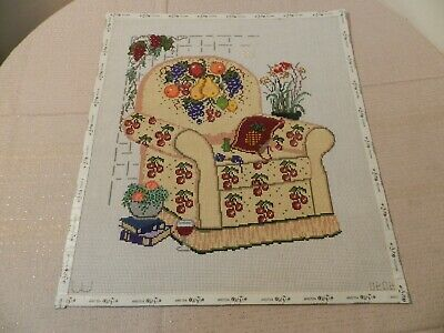 Needlepoint Hand Painted Canvas Fruit Chair 14 Count