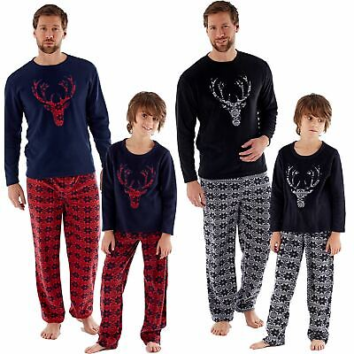 Family Matching Christmas Eve Pyjamas Mens/Boys Dad/Son Pyjama M-XXL Age 5-13