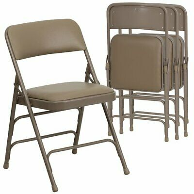 4-Pack Beige Frame Vinyl Padded Folding Chair Extra Seating Home/Event