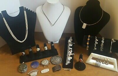 Antique Vintage Jewelry Lot Sterling Silver Brooches Rings Egyptian Revival