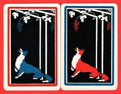 2 Single VINTAGE Playing/Swap Cards ANIMALS FOX GRAPES GRAPE VINE A31