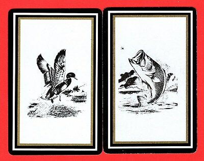 2 Single VINTAGE Playing/Swap Cards BIRDS DUCK FISH B17