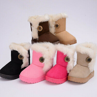 Kids Girls Boys Ankle Boots Winter Warm  Fur Boots Baby Toddler Sneaker Shoes