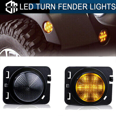 Smoked LED Fender Side Marker Lights Warning Lamp for 2007-2017 Jeep Wrangler JK
