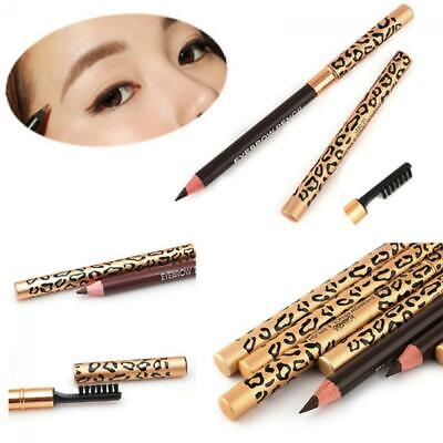 Waterproof Women Long-Lasting Makeup Eyebrow Pencil Brush Leopard Eyeliner