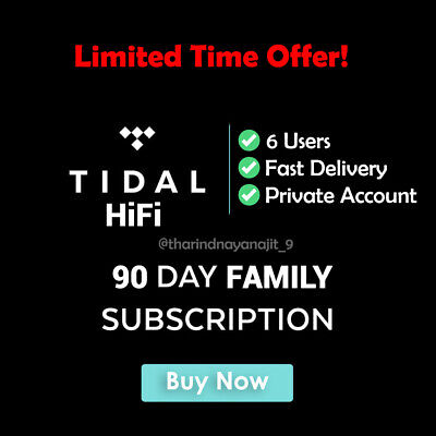 Tidal HiFi Masters Quality - Family Plan | 6 users 🔥 3 Months Guaranteed 🔥
