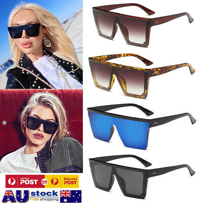 2019 Men Women Oversized Square Sunglasses Fashion Flat Top Shade Mirror UV400