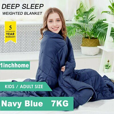 1INCHHOME 7KG Weighted Blanket Cotton Heavy Gravity Deep Relax Adult Navy Blue