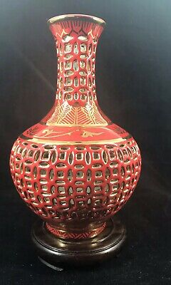 China Red Reticulated Vase And Stand.