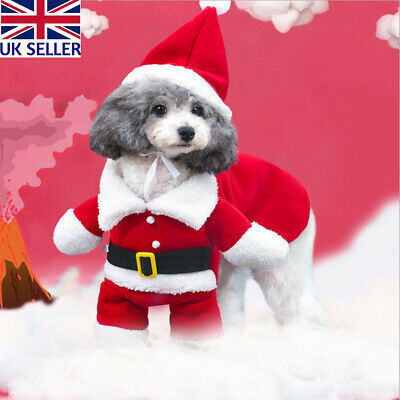 UK Pet Puppy Christmas Clothes Cosplay Costume Santa Claus Outfit 2 Piece Set