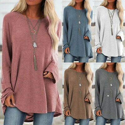 Women Long Sleeve Loose Tunic Tops Ladies Baggy Jumper Pullover Blouse Shirts