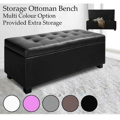 Storage Ottoman Blanket Box PU Leather Fabric Chest Toy Foot Stool Bed