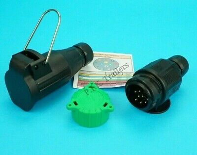 8 Pin Plug with Alignment Cap & 8 Pin Flying Socket for Trailer Extension Leads